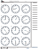 Reading An Analog Clock - Math Worksheet With Answers