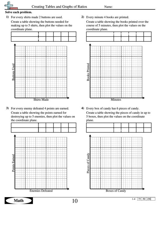 Creating Tables And Graphs Of Ratios Ratio Worksheet With Answers