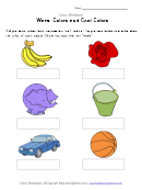 Warm Colors And Cool Colors Worksheet