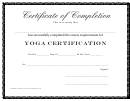 Yoga Certification - Certificate Of Completion
