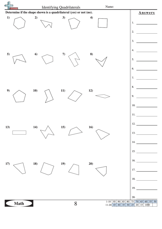Identifying Quadrilaterals Geometry Worksheet With