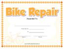 Bike Repair Certificate