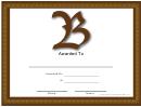 B Monogram Certificate Template