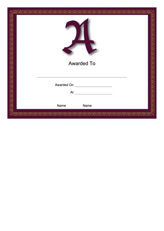 A Monogram Certificate Template Printable pdf