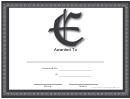 E Monogram Certificate Template