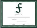 F Monogram Certificate Template