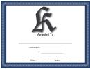 K Monogram Certificate Template