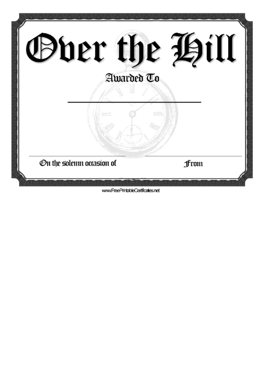 Over The Hill Certificate printable pdf download