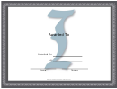 Centered I Monogram Certificate Template