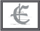 Centered E Monogram Certificate Template