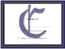 Centered C Monogram Certificate Template