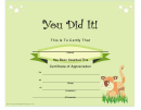You Did It Certificate - Green