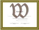Centered W Monogram Certificate Template