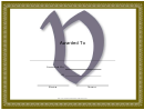 Centered V Monogram Certificate Template