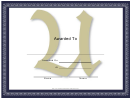 Centered U Monogram Certificate Template