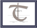 Centered T Monogram Certificate Template