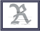 Centered R Monogram Certificate Template