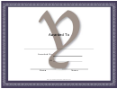 Centered Y Monogram Certificate Template