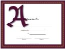 Offset A Monogram Certificate Template