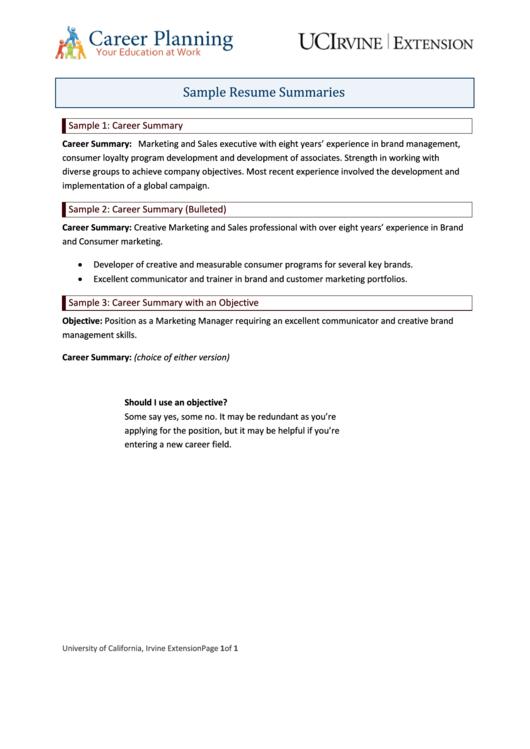 Sample Resume Summaries Printable pdf