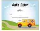 Safe Rider Certificate