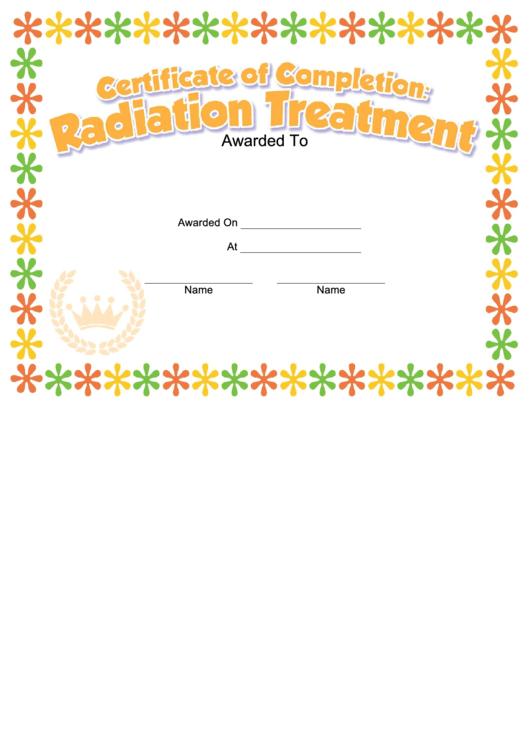 Radiation Treatment Kids Certificate