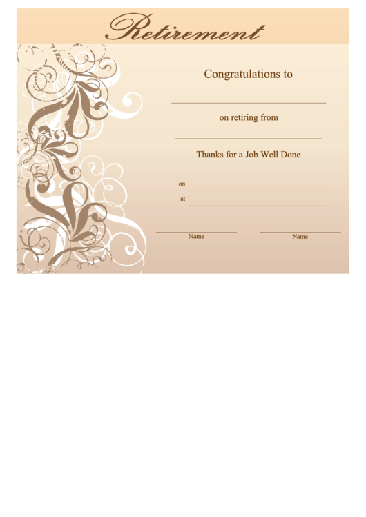 retirement certificate template - retirement certificate template printable pdf download