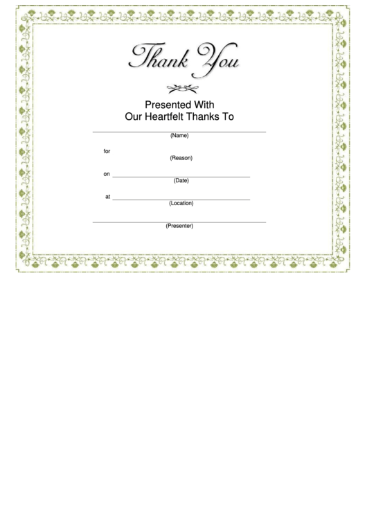 Thank You Certificate Template - Green Border