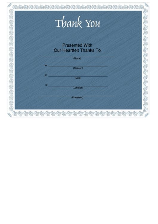 Thank You Certificate Template - Blue