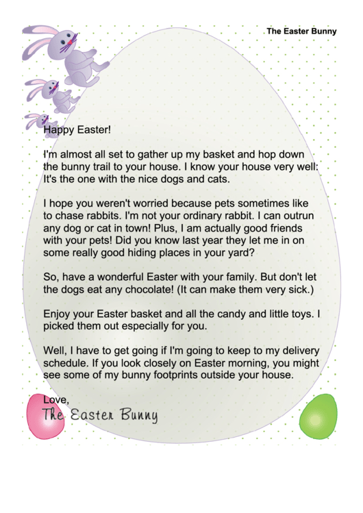 Easter Bunny Letter Template (family Has Pets)