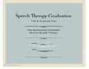 Speech Therapy Graduation Certificate Template