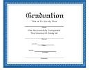 Graduation Certificate Template - Blue Border