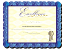 Certificate Of Excellence Template - Blue Border
