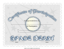 Space Derby Participation Certificate Template