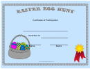 Easter Egg Hunt Participant Certificate Template