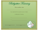 Babysitter Training Certificate Template