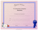 Pageant Hospitality Achievement Certificate