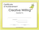 Creative Writing Achievement Certificate