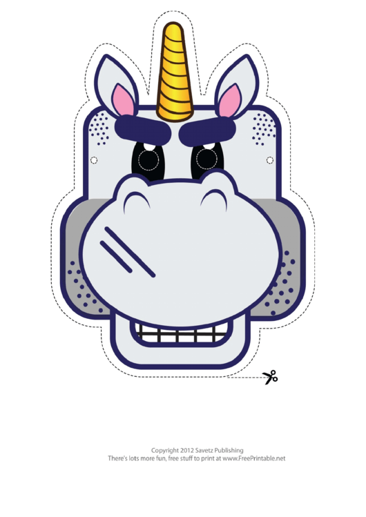 Tough Unicorn Mask Template Printable pdf