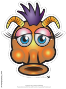 Monster Silly Horns Mask Template