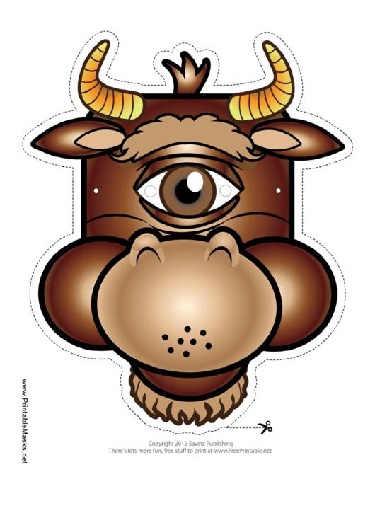 Cyclops Minotaur Mask Template Printable pdf