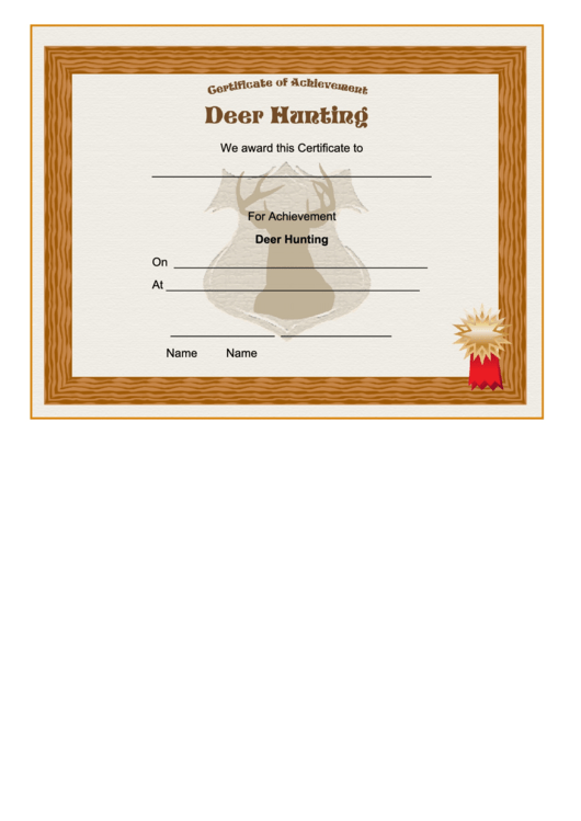 Hunting Deer Achievement Certificate Printable Pdf Download