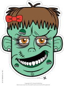 Zombie Female Mask Template
