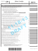 Form I-048 - Schedule Cr Draft - Other Credits - 2013
