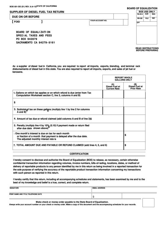 Fillable Form Boe-501-Dd - Supplier Of Diesel Fuel Tax Return Printable pdf