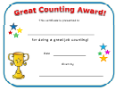 Great Counting Award Certificate Template