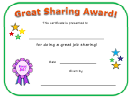 Great Sharing Award Certificate Template