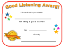 Good Listening Award Certificate Template