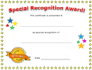 Special Recognition Award Certificate Template