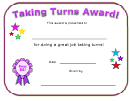 Taking Turns Award Certificate Template
